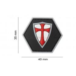 Parche Goma Cruz Templario Negro/Blanco/Rojo